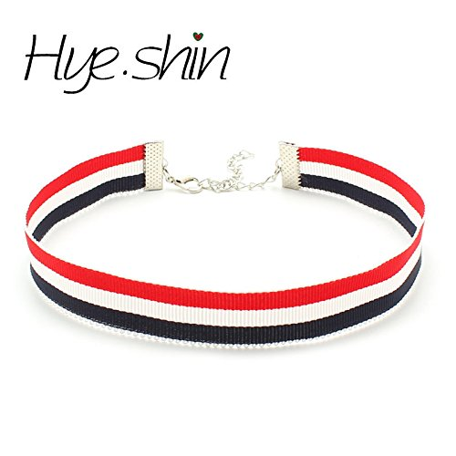 (Generic .s_hand-British_ style _stripe_ribbon_ neckband collar women girl Korean fashion clavicle necklace pendant _k)