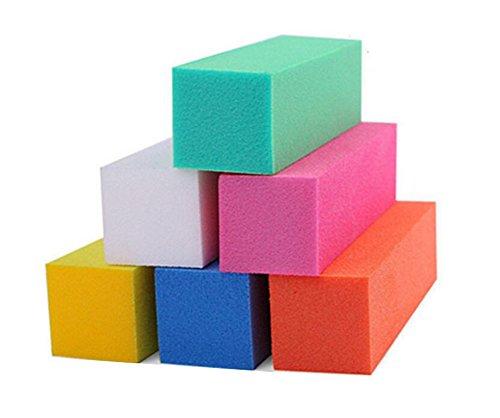 12PCS Colofull Square Nail File Sponge Art Buffer Buffing Polishing Manicure Polisher Pedicure Nail Tool Kit Set Sanding Block Grit For Toenails Fingernails