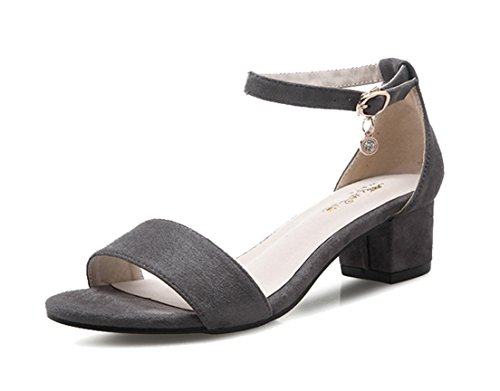 Respeedime Women Sandals Thick Buckle Open Toe Ladies Sandals Fashion Shoes Gray(Heel 4.5cm) 10M