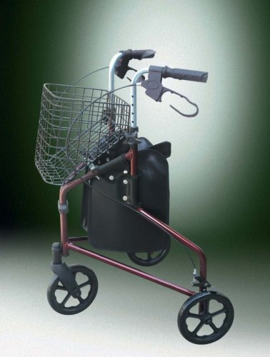 "DELUXE ULTRALIGHT 3-WHEELS ROLLATOR WITH BRAKES & 8"" WHEELS & TOTE BAG"
