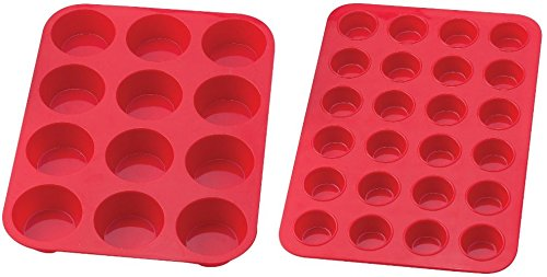 Ann Clark Cookie Cutters Mrs. Andersons Baking Silicone 12 and 24-Cup Mini Muffin Pan Baking Mold, Non-Stick European-Grade Silicone