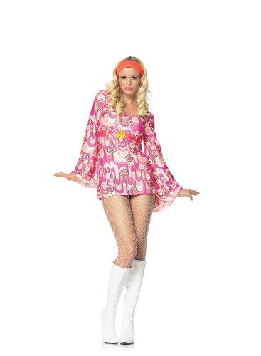 Leg Avenue Womens 2 Piece Retro Peace Daisy Gogo Costume X-Small Pink
