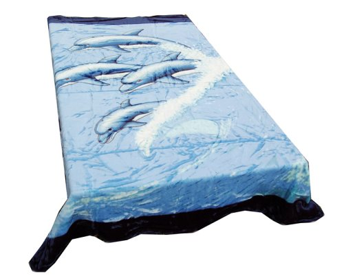 Soft Queen Size Korean Mink Blanket - Navy Blue Four Dolphins Print