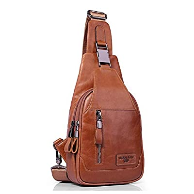 Men's Leather Sling Bag Chest Bag One Shoulder Bag Crossbody Bag Backpack