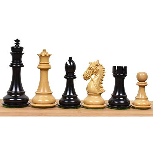 RoyalChessMall-4.4 «Staunton Luxury Stopped Luxury Chess Pieces – Ébano de Triple Peso