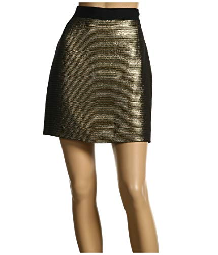 Elie Tahari Cotton Skirt - Elie Tahari Women's Cindy Metallic A-Line Mini Skirt in Black & Gold Stripe (12 Apparel)