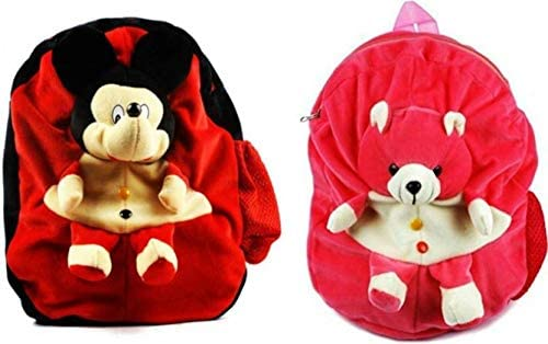 Cute Mickey & Teddy Soft Toy Bag Combo - 14 inch (Red, Pink)