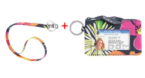 Vera Bradley Zip Id Case and Lanyard in Jazzy Blooms
