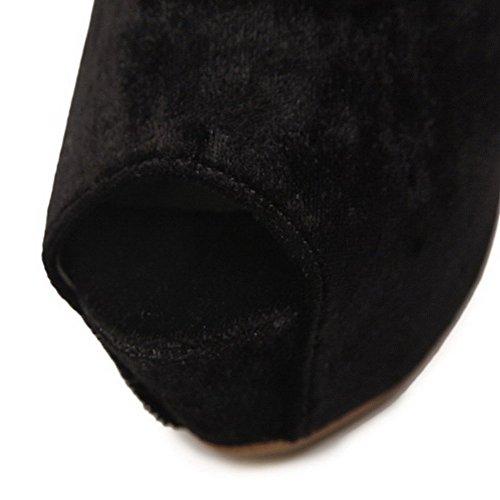 AllhqFashion Mujeres Peep Tacón ancho Hebilla Sólido con Tacón Cristal Sandalia Negro