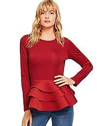 Romwe - Blusa de Plumas para Mujer, Estilo clásico, con Capas, Corte Ajustado, Cuello Redondo