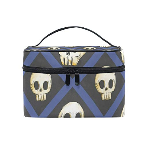 (Halloween Skulls Cosmetic Bags Organizer- Travel Makeup Pouch Ladies Toiletry Train Case for Women Girls, CoTime Black Zipper and Flat)