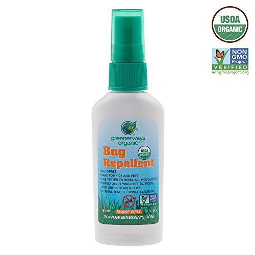 Greenerways Organic Mosquito Insect Repellent Travel Size, Premium, USDA Organic, DEET-FREE, Natural, Mosquito-Repellant, Bug Spray, Clothing Safe, Baby Safe, Kid, Pet, Pest Control - 2 Oz MSRP $8.99