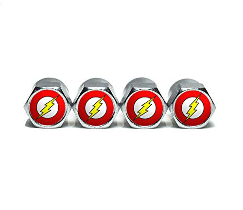 - The Flash Tire Valve Stem Caps - Chrome Surface - Set of Four
