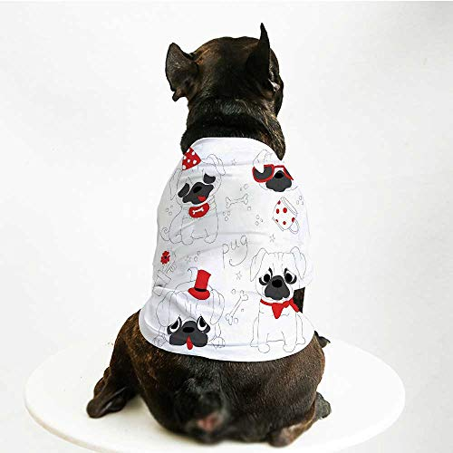YOLIYANA Pug Printing Pet Suit,Dogs in Various States Sad Happy Cool Excited Dog Bone Dotted Mug Caricature Style Decorative for Small Dog Teddy Chihuahua Bichon,S