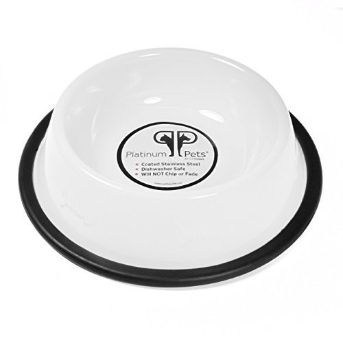 Platinum Pets 1 Cup Embossed Non-Tip Stainless Steel Cat Bowl, Pearl White by Platinum Pets
