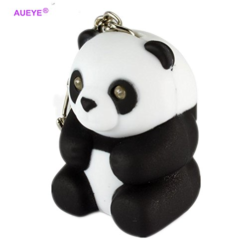 Cute Panda Keychain Toys with LED light Sound glowing Pendant Dolls Keyrings with Flashlight for Kids ABS Key Rings Holder Torch Souvenirs