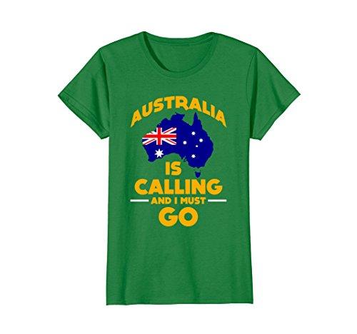 Womens FUNNY AUSTRALIA IS CALLING AND I MUST GO T-SHIRT Gift Medium Kelly (Female Australia Day Costumes)