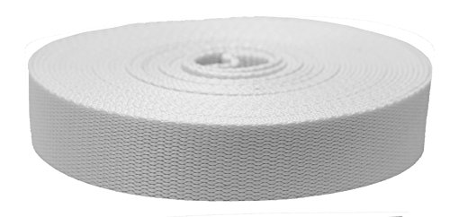 Strapworks Colored Flat Nylon Webbing - Strap for Arts and Crafts, Dog Leashes, Outdoor Activities - 1.5 Inches x 20 Yards, White