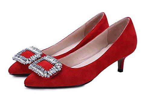 di temperamento dei diamante sottile XIE 43 opaco sposa Womens eleganti pattini RED tacco casuali pink scarpette 41 con da wffvqzH