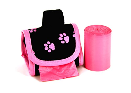 Doggie Walk Bags 2-Roll Designer Bags, Pink Paw/Pink/Citrus ()