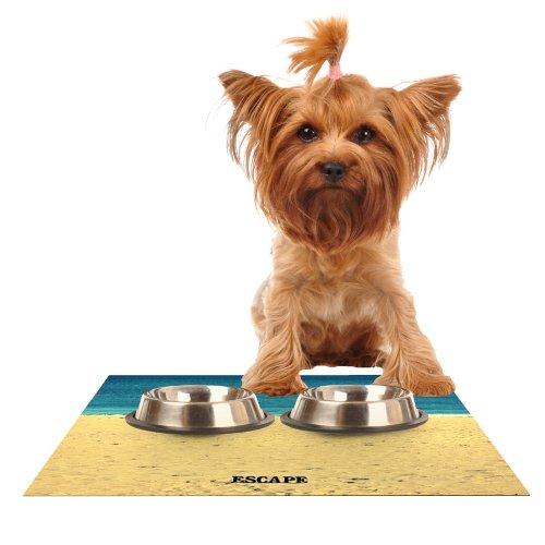 Kess InHouse Robin Dickinson Escape  Beach Sand Feeding Mat for Pet Bowl, 24 by 15-Inch