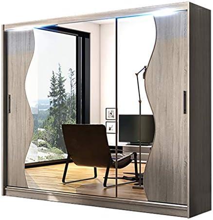 Armario de puertas correderas con espejo moderno para dormitorio