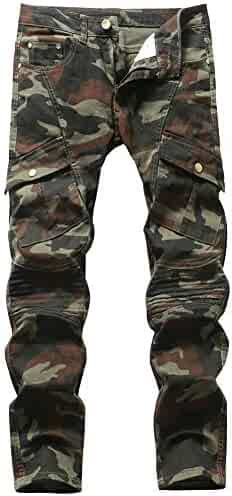 79294019a043 Plaid&Plain Men's Camo Stretch Skinny Jeans Slim Tapered Biker Jeans