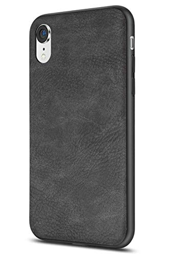 Salawat Compatible with iPhone Xr Case, Slim PU Leather Vintage Shockproof Phone Case Cover Lightweight Premium Soft TPU Bumper Hard PC Hybrid Protective Case for iPhone Xr 6.1inch 2018 (Black)