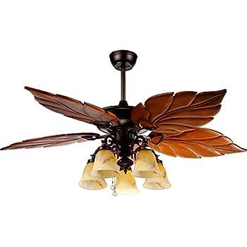 Andersonlight Tropical Ceiling Fan Light Wooden Palm Leaf Blades Fan Light Indoor Quiet Ceiling