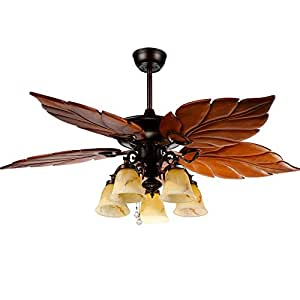 Andersonlight Tropical Ceiling Fan Light Wooden Palm Leaf