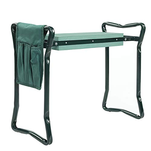 ORAF Garden Kneeler Seat Portable Garden Bench with 3 Free Tool Pouches EVA Foam Pad Outdoor Foldable Sturdy Gardening Tools for Gardeners(Small)