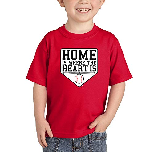 Home is Where The Heart is - Baseball Infant/Toddler Cotton Jersey T-Shirt (Red, 5T)