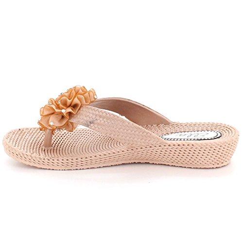 Tacón Tamaño Oro Sandalias Toe Verano Casual Señoras Mujer Plano Zapatos Ponerse Ligero Comodidad post 7qwq0TcO