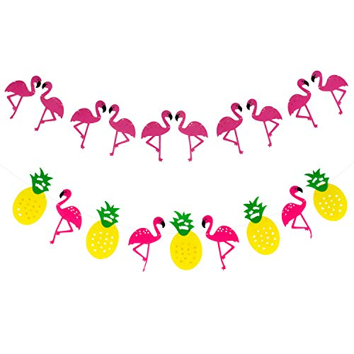 FLAMINGO and PINEAPPLE BANNER GARLAND - No DIY Required, 2 Pack | Felt Banner | Flamingo Party Supplies | Pineapple Party Decor for Hawaiian Luau Party Supplies | Beach Summer - Pineapple Banner