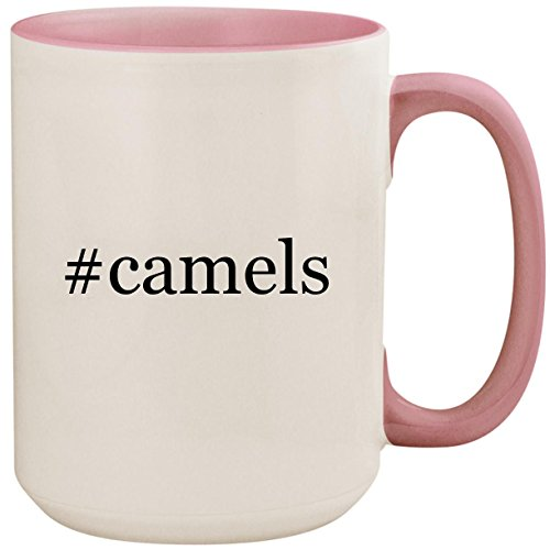 #camels - 15oz Ceramic Colored Inside and Handle Coffee Mug Cup, Pink