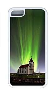 iPhone 5C Case, Personalized Custom Rubber TPU White Case for iphone 5C - Aurora Night Cover