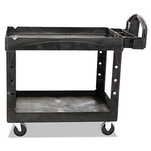 Rubbermaid Commercial Heavy-Duty 2- Shelf Utility Cart, Ergo Handle, Lipped Shelves, Medium, Black (Mobile Office Worksurface)