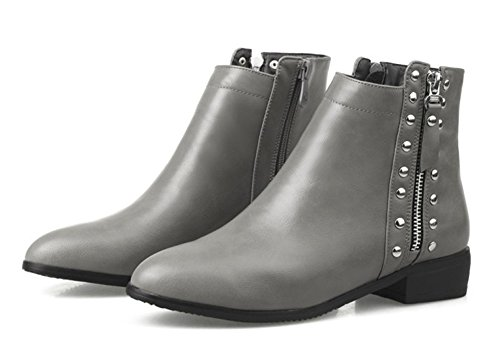 Aisun Womens Stylish Comfy Studded Side Zipper Low Heels Round Toe Ankle Booties Shoes Gray qCwwOkWP