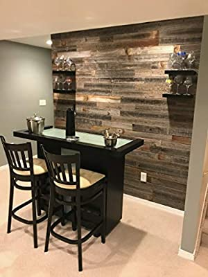 Real Weathered Wood Planks for Walls! Rustic Reclaimed barn Wood Paneling for Accent Walls, Easy Nail up Application