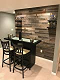 Real Weathered Wood Planks Walls! Rustic Reclaimed barn Wood Paneling Accent Walls, Easy Application (23 Square FEET)
