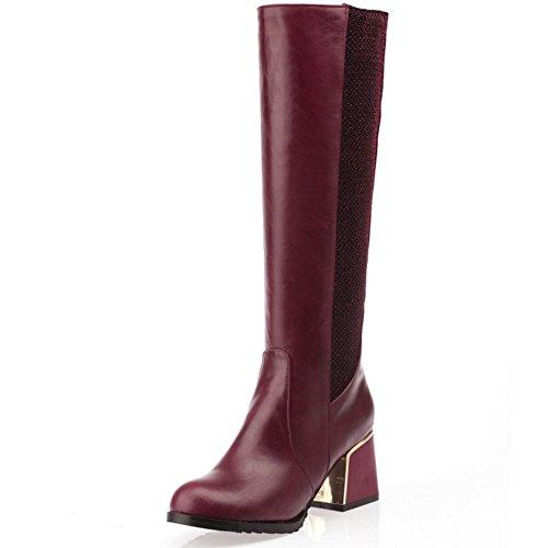 COOLCEPT Damen süße westliche Blockabsatz schuhe Mitte der Wade Ritter Stiefel lange Stiefel Rot