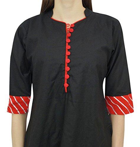 avec Boutonne Bande col Bimba Noir du Tunique en Coton Longues Rouge Manches Haut Femmes qqP8Y