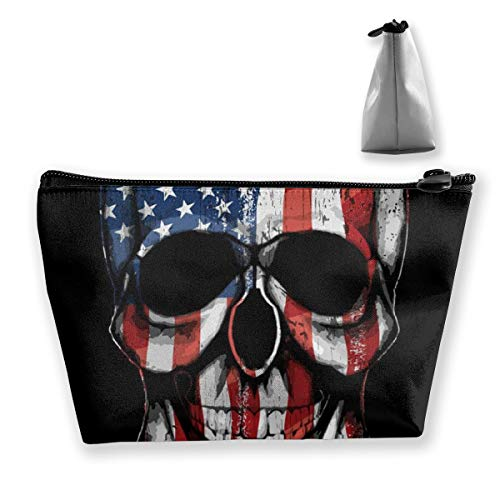 Women Girls Make Up Bag Pouch for Toiletry Jewelry Trip, Large Capacity Travel Makeup Train Case Multifunction Travel Bag Waterproof Luggage Pouch (NEW American Flag Motorcycle Black)