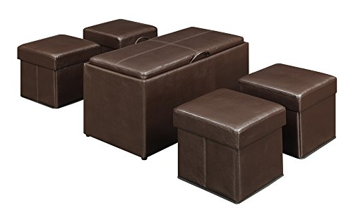 Convenience Concepts Designs4Comfort Manhattan Storage Bench with 4 Collapsible Ottomans, Espresso Faux ()