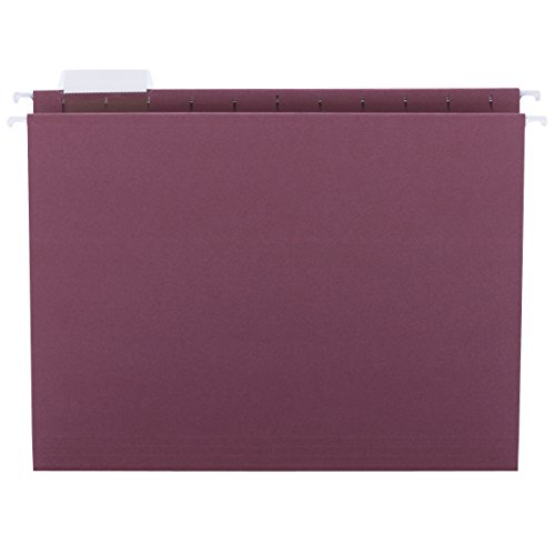 Smead Hanging File Folder with Tab, 1/5-Cut Adjustable Tab, Letter Size, Maroon, 25 per Box (64073)