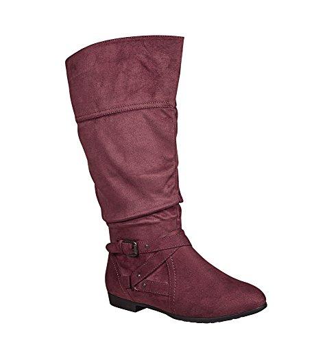 Avenue Kvinna Colby Tall Rynkad Boot Vin
