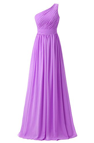 ASBridal Women's Chiffon One shoulder Bridesmaid Dress Evening Prom Gown Floor Length, Orchid, US24W ()
