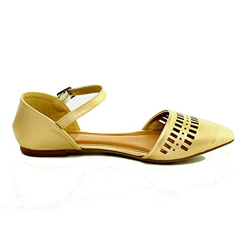 TheRightPair Women's Geometric Cut Out Pointed Plain Ballet Flat with Ankle Strap Slip On PU Shoes Champagne 10 ()