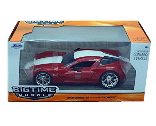 Jada 2009 Chevy Corvette Stingray Concept, Red w/ White Stripe Toys 92387 - 1/24 Scale Diecast Model Toy Car, but NO Box