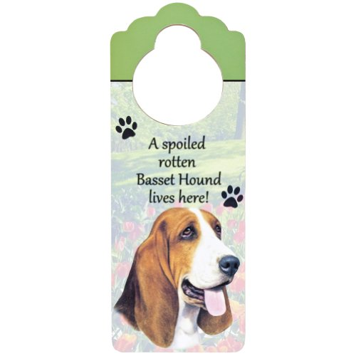 """UPC 608938522689, Basset Hound Wood Sign """"A Spoiled Rotten Basset Hound Lives Here""""with Artistic Photograph Measuring 10 by 4 Inches Can Be Hung On Doorknobs Or Anywhere In Home"""